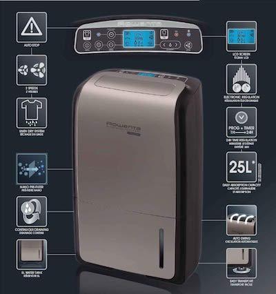 Deshumidificador Rowenta Intense Dry Control DH4130f0 panel control digital funciones